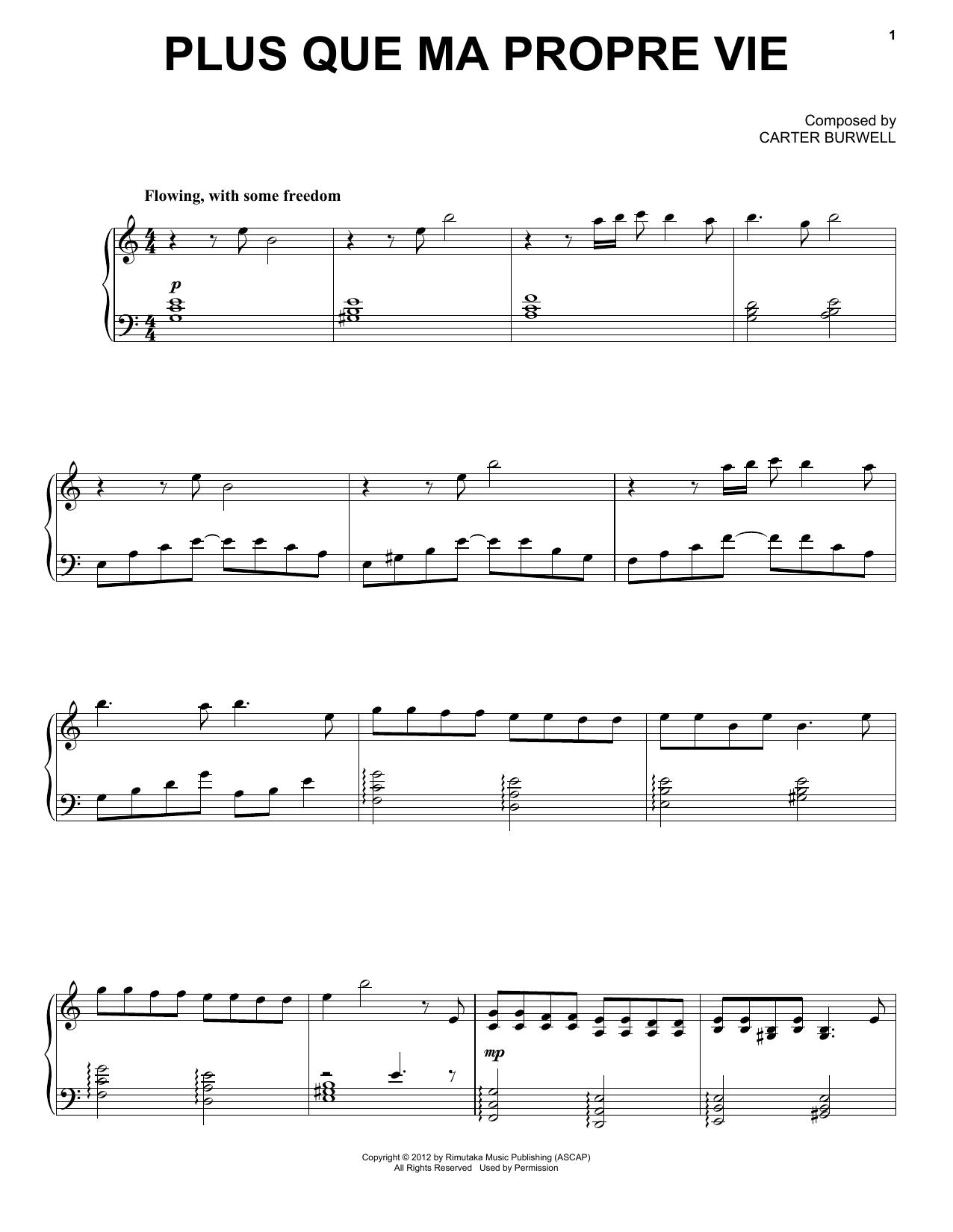 Partition piano Plus Que Ma Propre Vie de Carter Burwell - Piano Voix Guitare (Mélodie Main Droite)