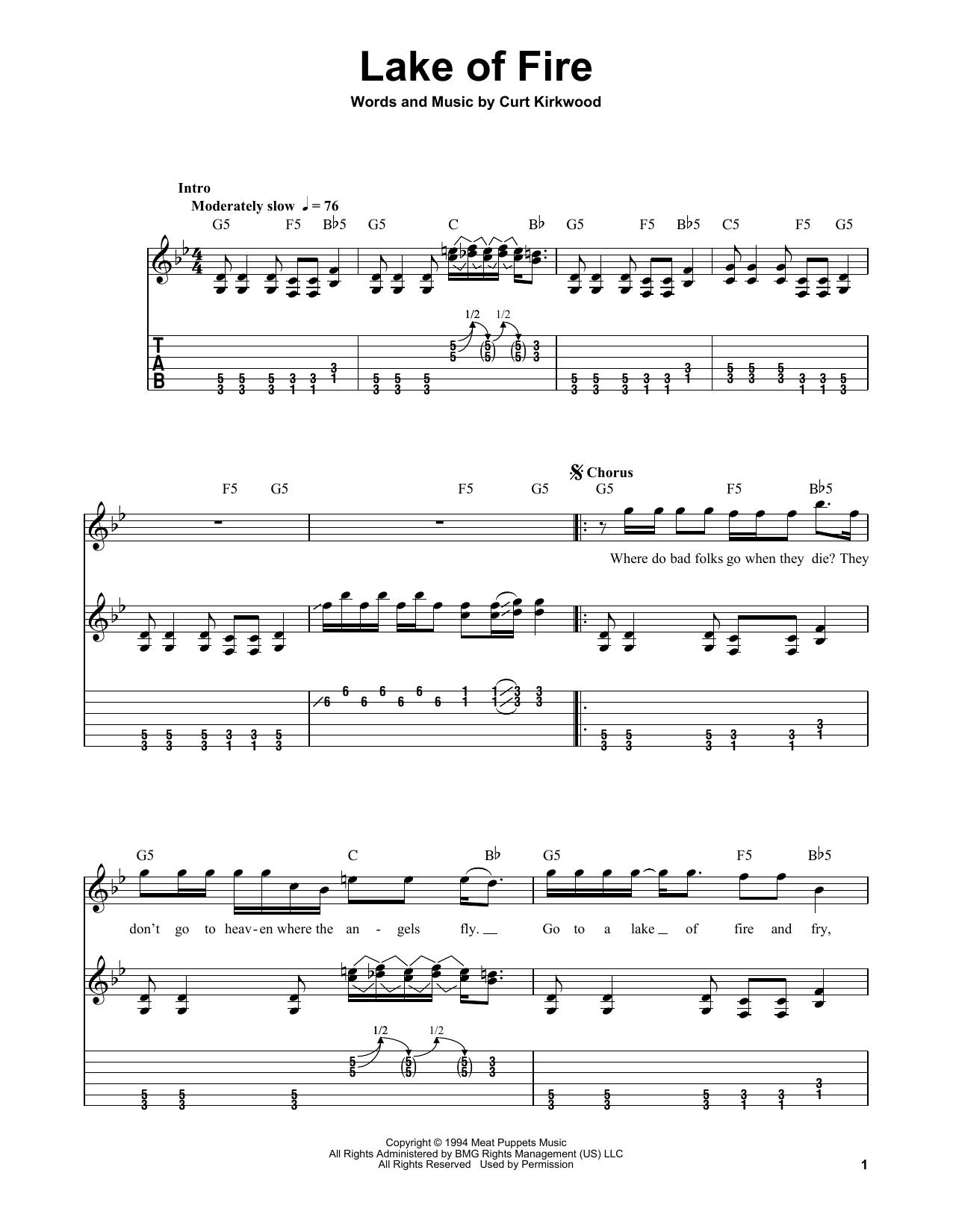 Tablature guitare Lake Of Fire de Nirvana - Tablature guitare facile