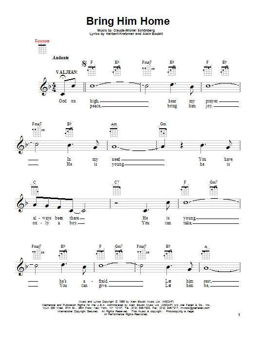 Tablature guitare Bring Him Home de Claude-Michel Schonberg - Ukulele