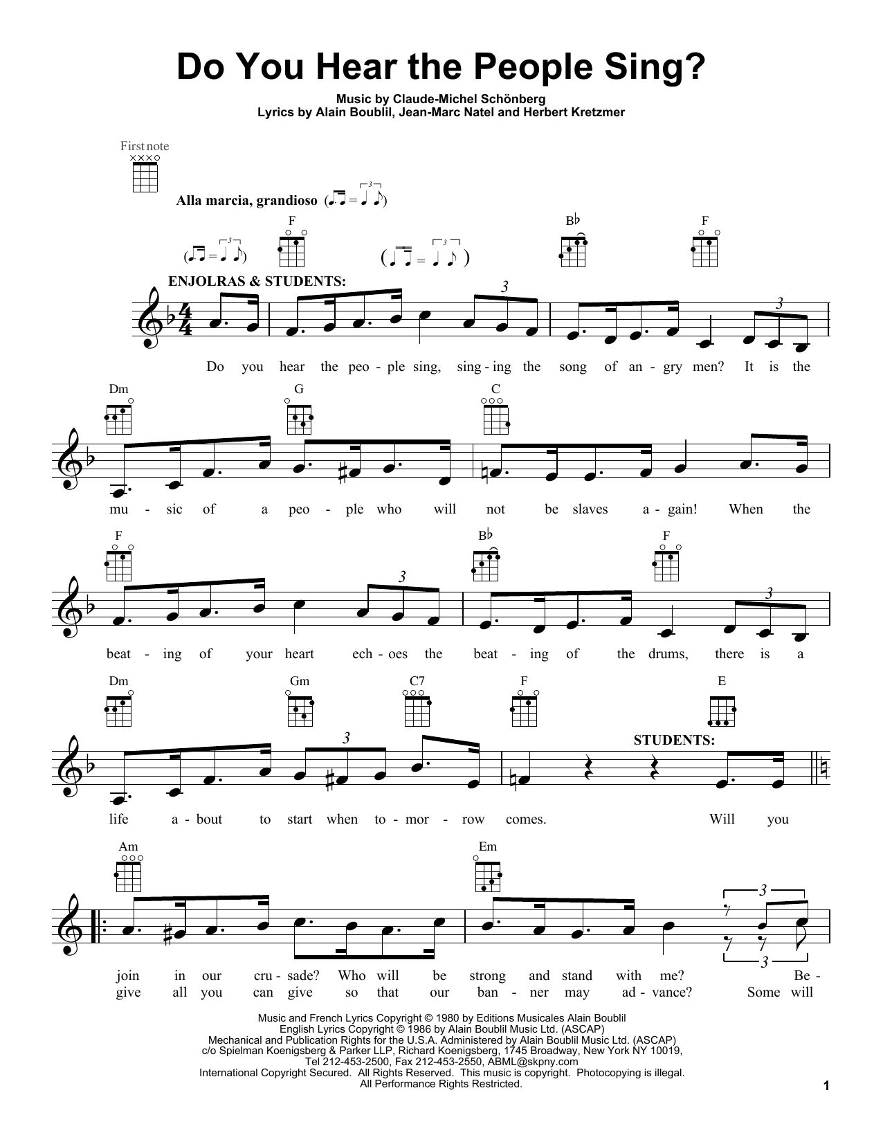 Do You Hear The People Sing? sheet music for ukulele by Claude-Michel Schonberg