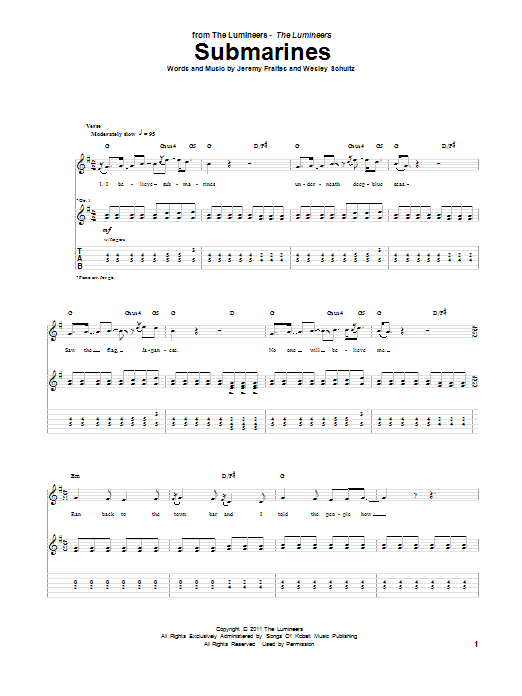 Tablature guitare Submarines de The Lumineers - Tablature Guitare