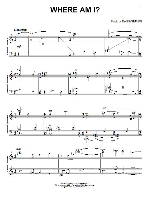 Partition piano Where Am I? de Danny Elfman - Piano Solo