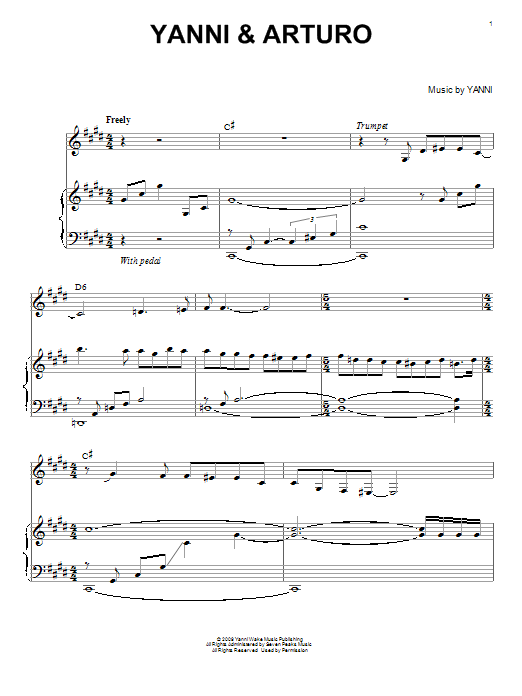 Partition piano Yanni & Arturo de Yanni - Piano Solo