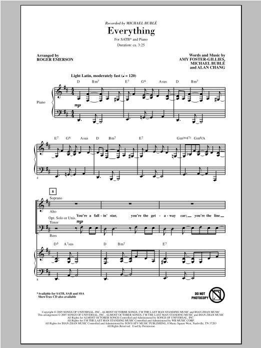 Partition chorale Everything de Michael Bublé - SATB
