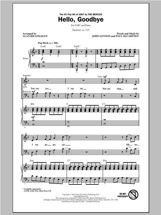 Partition chorale Hello, Goodbye de Alan Billingsley - SAB