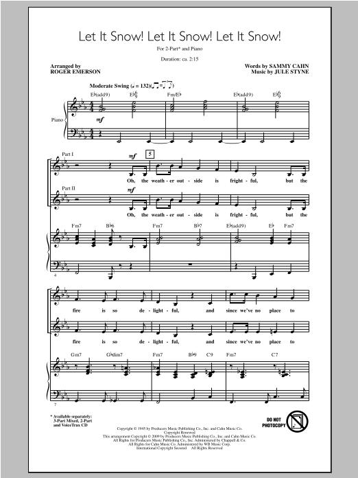Partition chorale Let It Snow! Let It Snow! Let It Snow! de Jule Styne - 2 voix
