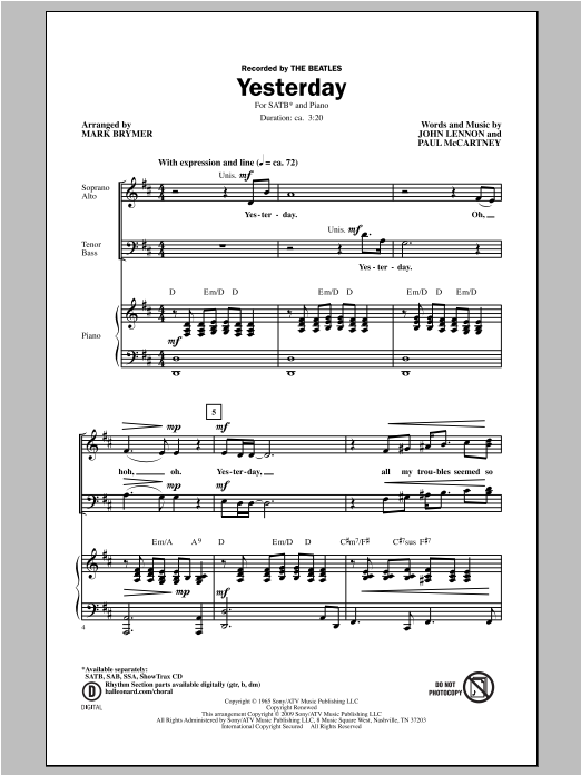 Partition chorale Yesterday de Mark Brymer - SATB