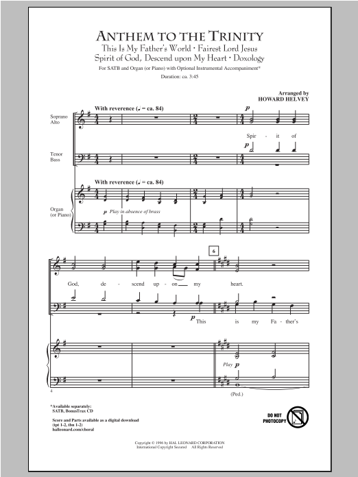 Partition chorale Anthem Of Trinity de Howard Helvey - SATB