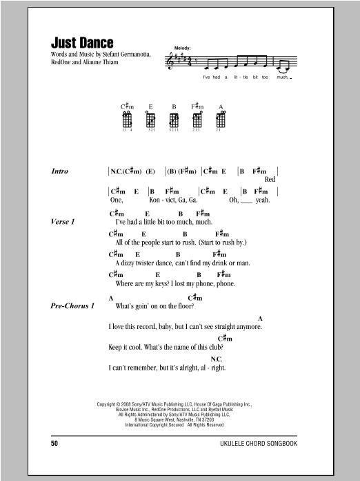 Tablature guitare Just Dance de Lady Gaga - Ukulele (strumming patterns)