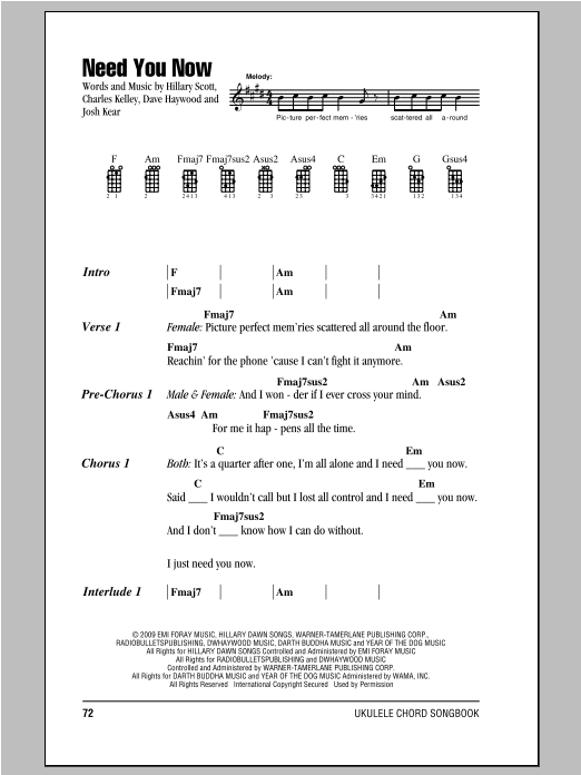 Tablature guitare Need You Now de Lady Antebellum - Ukulele (strumming patterns)