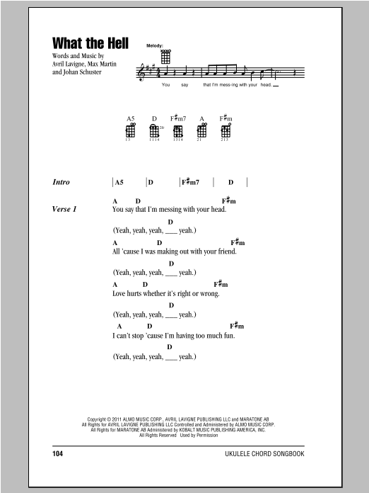 Tablature guitare What The Hell de Avril Lavigne - Ukulele (strumming patterns)