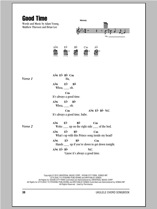 Tablature guitare Good Time de Owl City - Ukulele (strumming patterns)