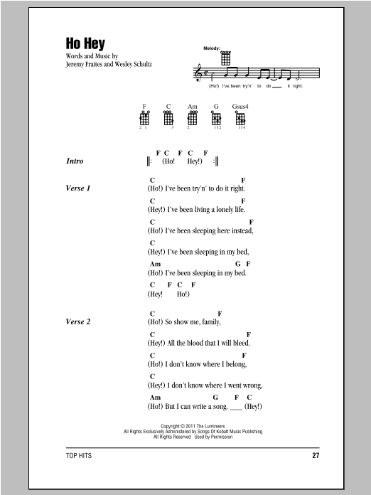 Tablature guitare Ho Hey de The Lumineers - Autre