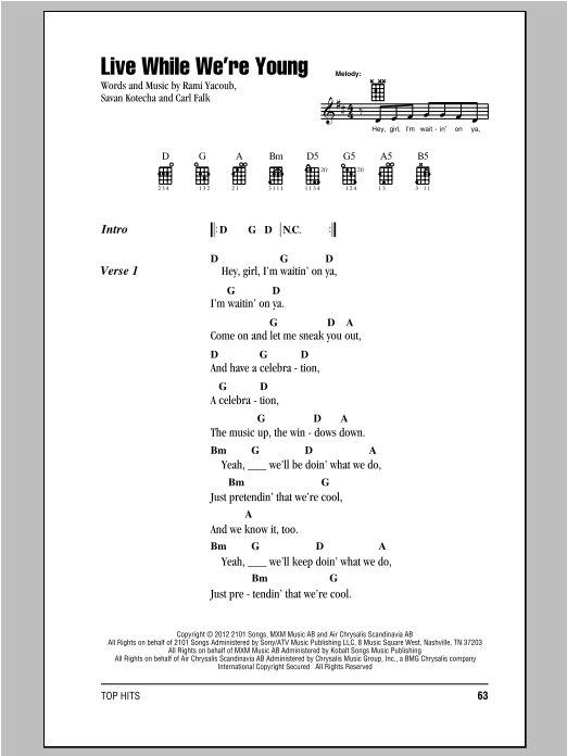 Tablature guitare Live While We're Young de One Direction - Ukulele (strumming patterns)