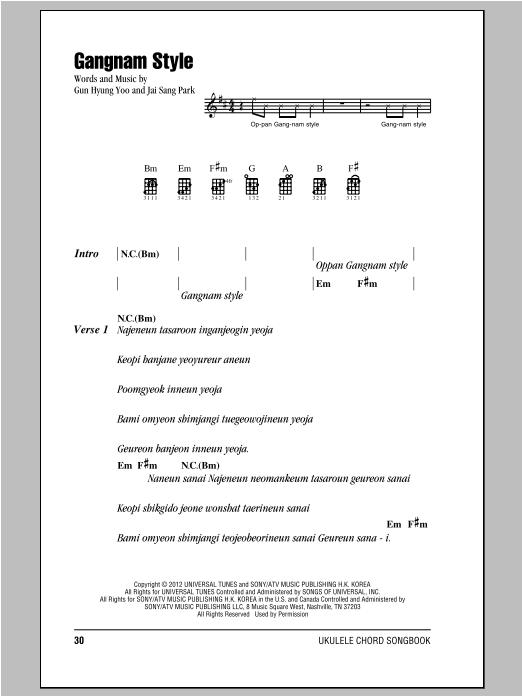 Tablature guitare Gangnam Style de Psy - Ukulele (strumming patterns)