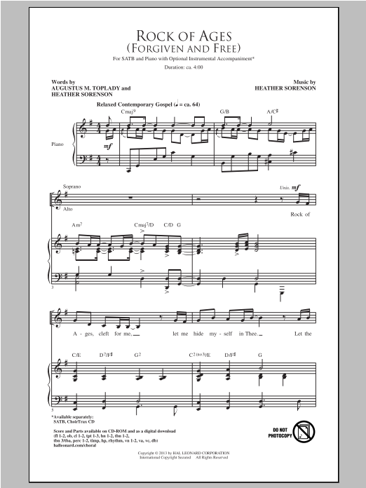 Partition chorale Rock Of Ages (Forgiven And Free) de Heather Sorenson - SATB