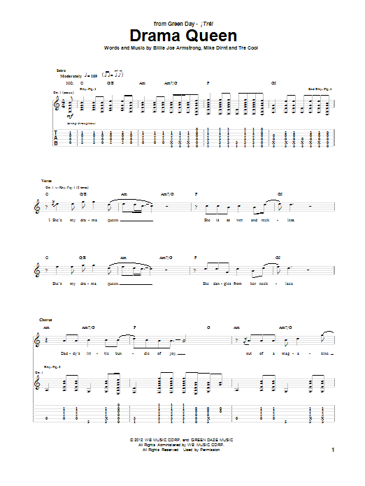Drama Queen Guitar Tab by Green Day (Guitar Tab u2013 96343)
