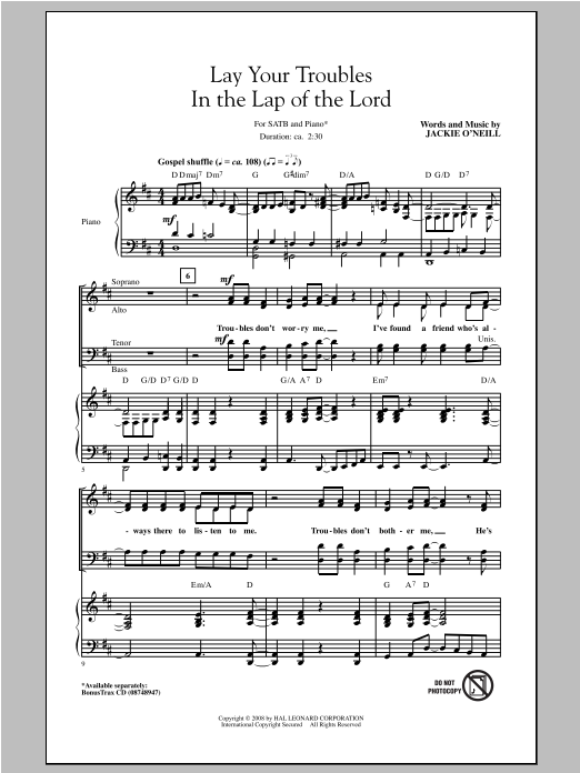 Partition chorale Lay Your Troubles In The Lap Of The Lord de Jackie O'Neill - SATB