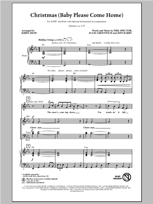 Partition chorale Christmas (Baby Please Come Home) de Kirby Shaw - SATB