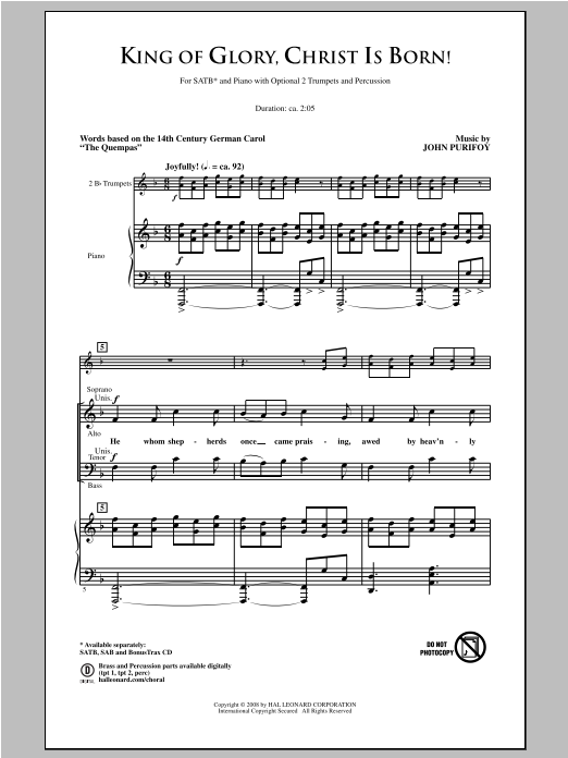 Partition chorale King Of Glory, Christ Is Born! de John Purifoy - SATB