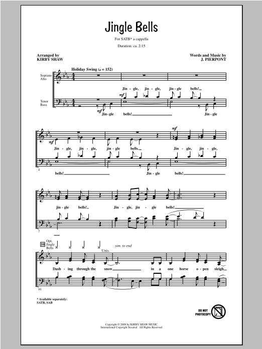 Partition chorale Jingle Bells de Kirby Shaw - SATB