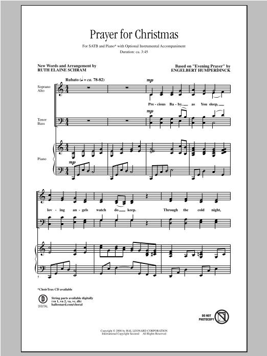 Partition chorale Prayer For Christmas de Ruth Elaine Schram - SATB