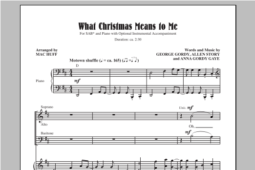 Partition chorale What Christmas Means To Me de Mac Huff - SAB