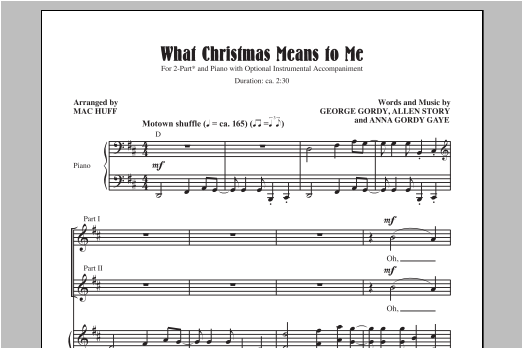 Partition chorale What Christmas Means To Me de Mac Huff - 2 voix