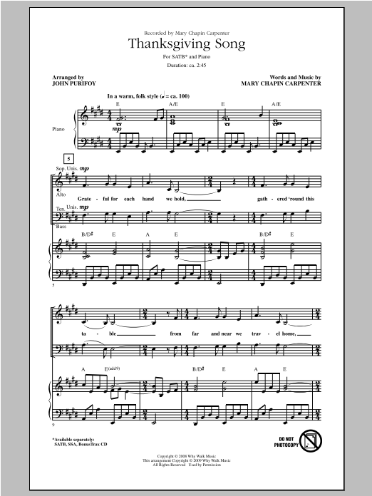 Partition chorale Thanksgiving Song de John Purifoy - SATB