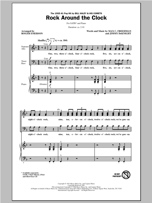 Rock Around The Clock sheet music for choir and piano (SATB) by Roger Emerson
