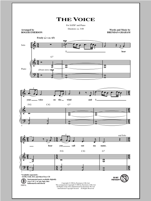 Partition chorale The Voice de Brendan Graham - SATB