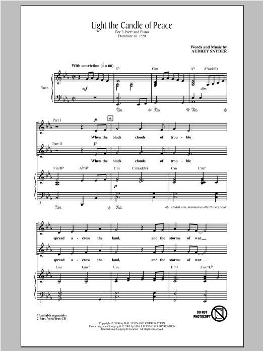 Partition chorale Light The Candle Of Peace de Audrey Snyder - 2 voix