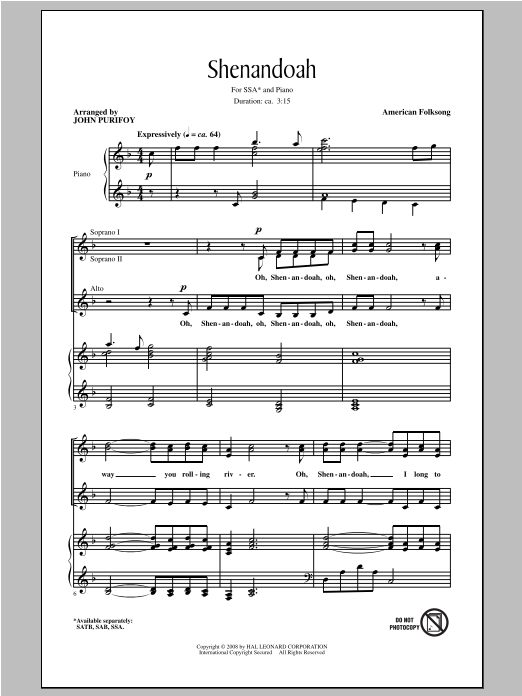 Partition chorale Shenandoah de John Purifoy - SSA
