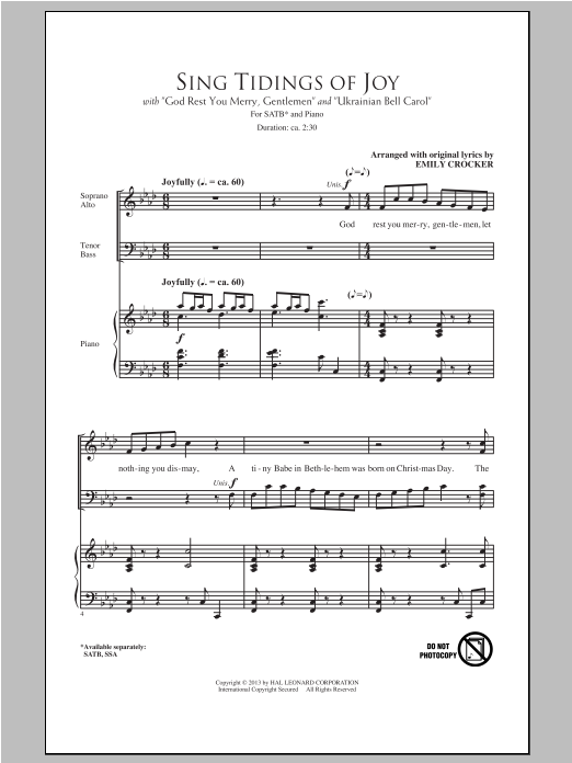 Sing Tidings Of Joy sheet music for choir and piano (SATB) by Emily Crocker