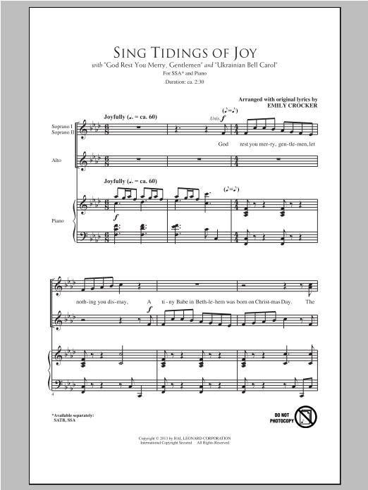 Partition chorale Sing Tidings Of Joy de Emily Crocker - SSA