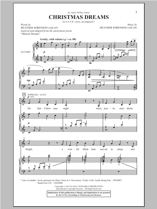 Partition chorale Christmas Dreams de Heather Sorenson - SATB