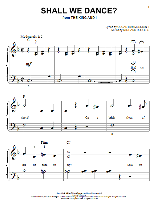Partition piano Shall We Dance? de Rodgers & Hammerstein - Piano Facile