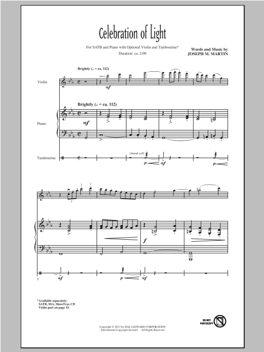 Partition chorale Celebration Of Light de Joseph Martin - SATB