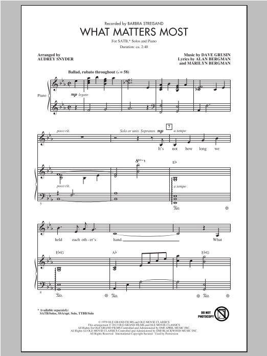 Partition autre What Matters Most de Audrey Snyder - SATB