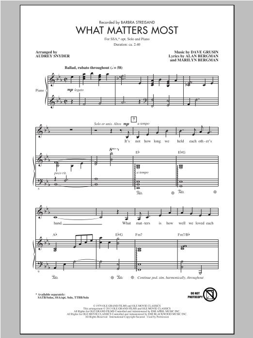 Partition autre What Matters Most de Barbra Streisand - SSA