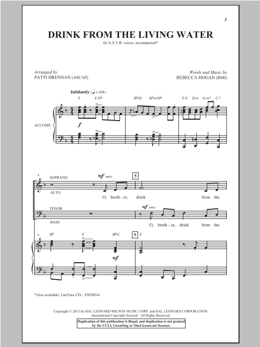 Partition chorale Drink From The Living Water de Patti Drennan - SATB