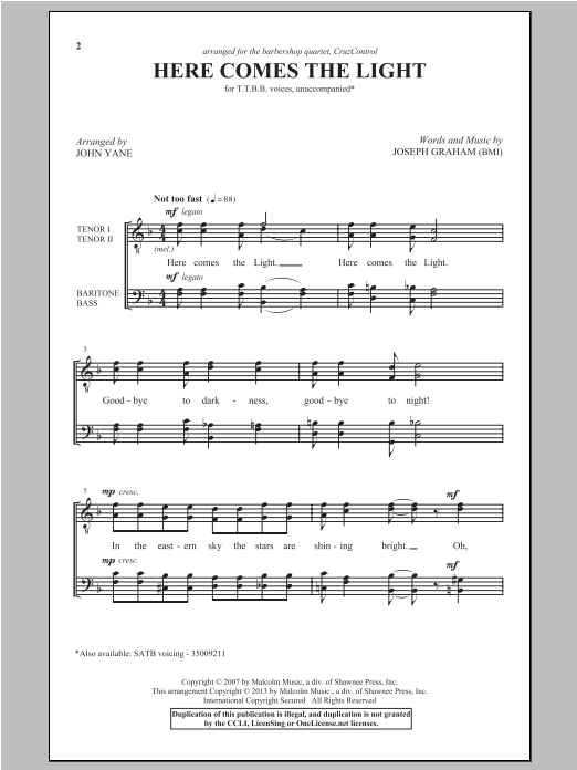Here Comes The Light sheet music for choir and piano (TTBB) by John Yane
