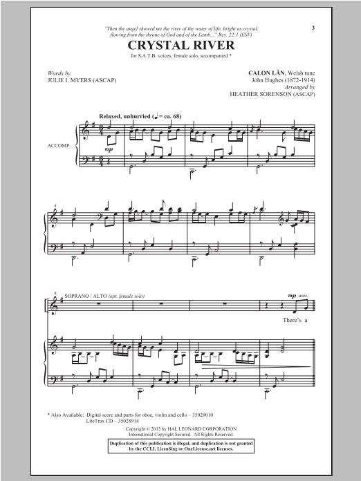 Partition chorale Crystal River de Heather Sorenson - SATB