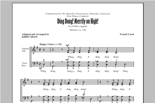 Partition chorale Ding Dong! Merrily On High! de Kirby Shaw - SATB