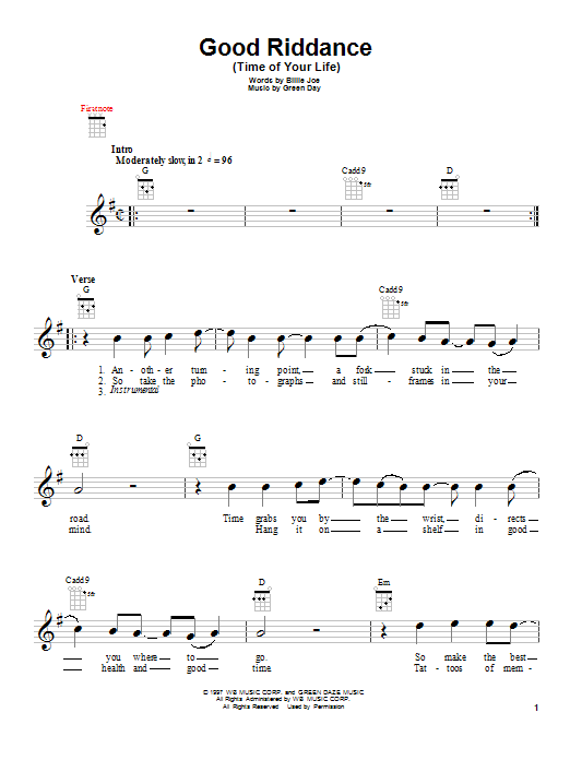 Tablature guitare Good Riddance (Time Of Your Life) de Green Day - Ukulele