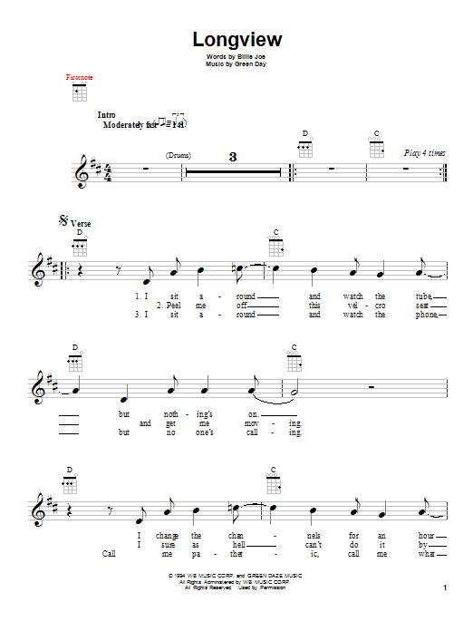 Tablature guitare Longview de Green Day - Ukulele