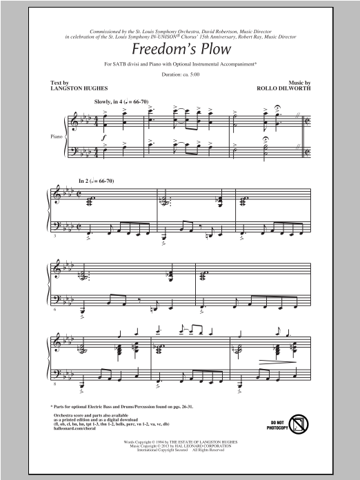 Partition chorale Freedom's Plow de Rollo Dilworth - SATB