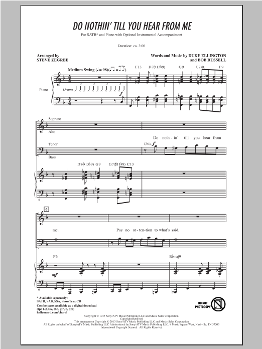 Partition chorale Do Nothin' Till You Hear From Me de Steve Zegree - SATB