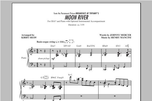 Partition chorale Moon River de Henry Mancini - SSA