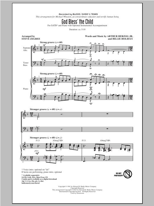 Partition chorale God Bless' The Child de Steve Zegree - SATB